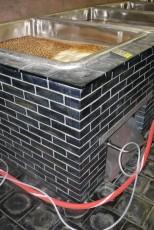 Obložení van a podlavy pivovarského sklepa čedičem